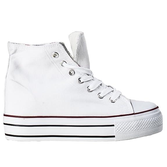 ebd6504be6 Toocool - Scarpe Donna Ginnastica Sneakers Alte Sport Tela Lacci Zeppa  Interna Nuove NG501