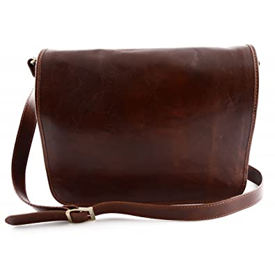 65cde255701f0 Dream Leather Bags Made in Italy toskanische echte Ledertaschen Herren  Messenger Ledertasche Farbe Braun - Italienische