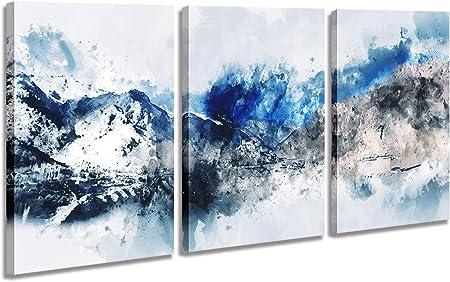 Cuadros Abstractos Modernos Pintura De Acuarela Sobre Lienzo Con Motivos De Montañas En Tonos Azules Cuadros Enmarcados Listos Para Colgar En La Sala De Estar Dormitorio Hogar Oficina 3 Paneles De