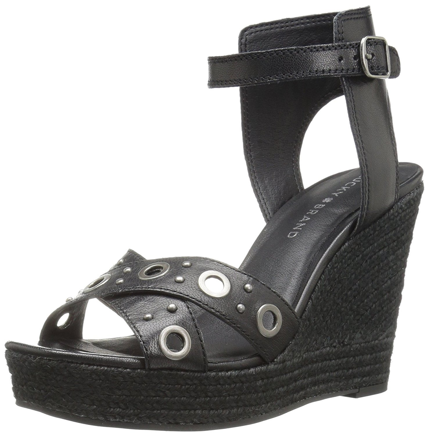 Lucky Brand Women's Leander Wedge Sandal, Black, 7.5 Medium US