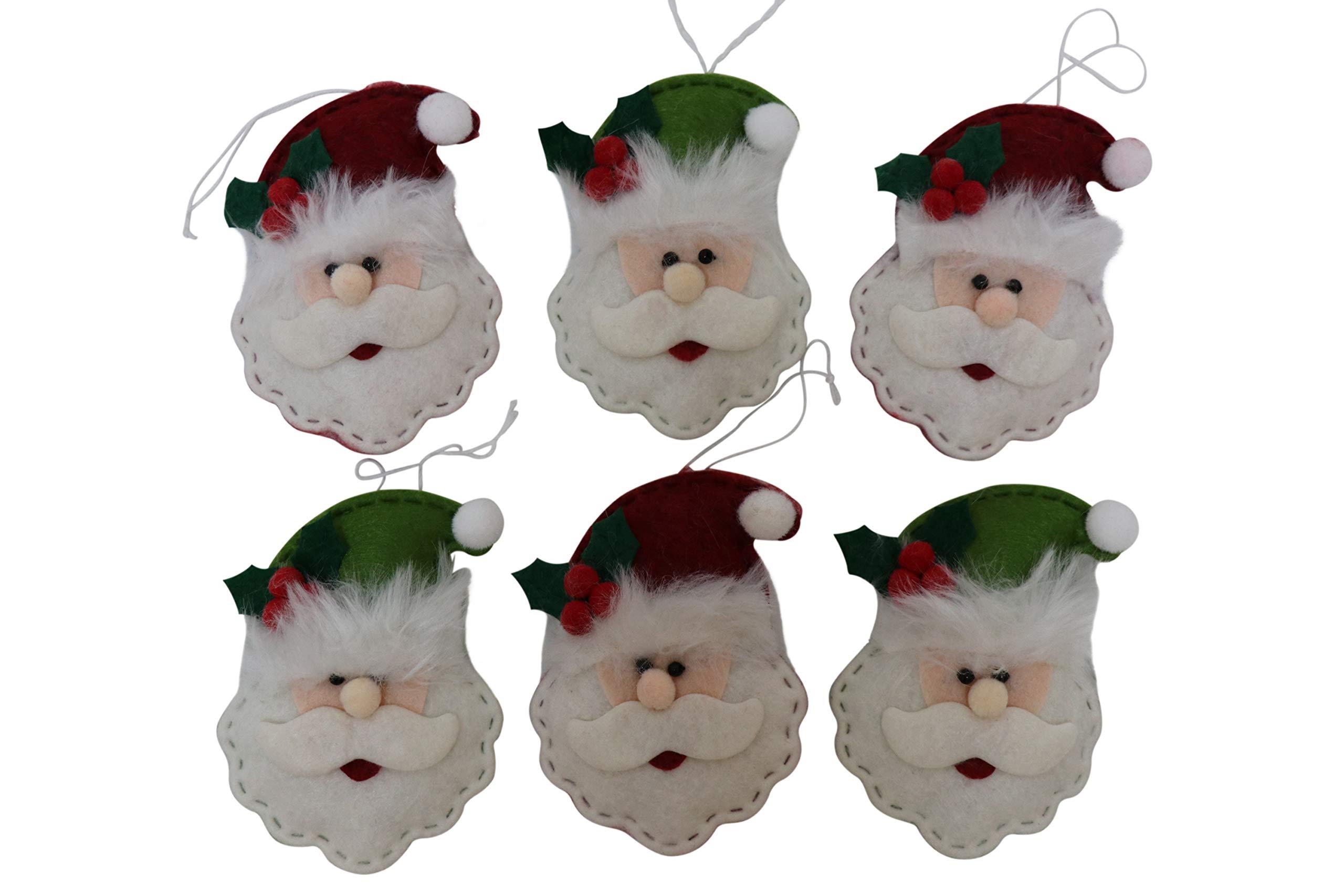 Image of Set of 6 Felt Santa Claus Christmas Ornaments