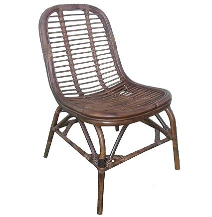 Mid Century Modern Rattan Side Chair  Woven Retro Wicker