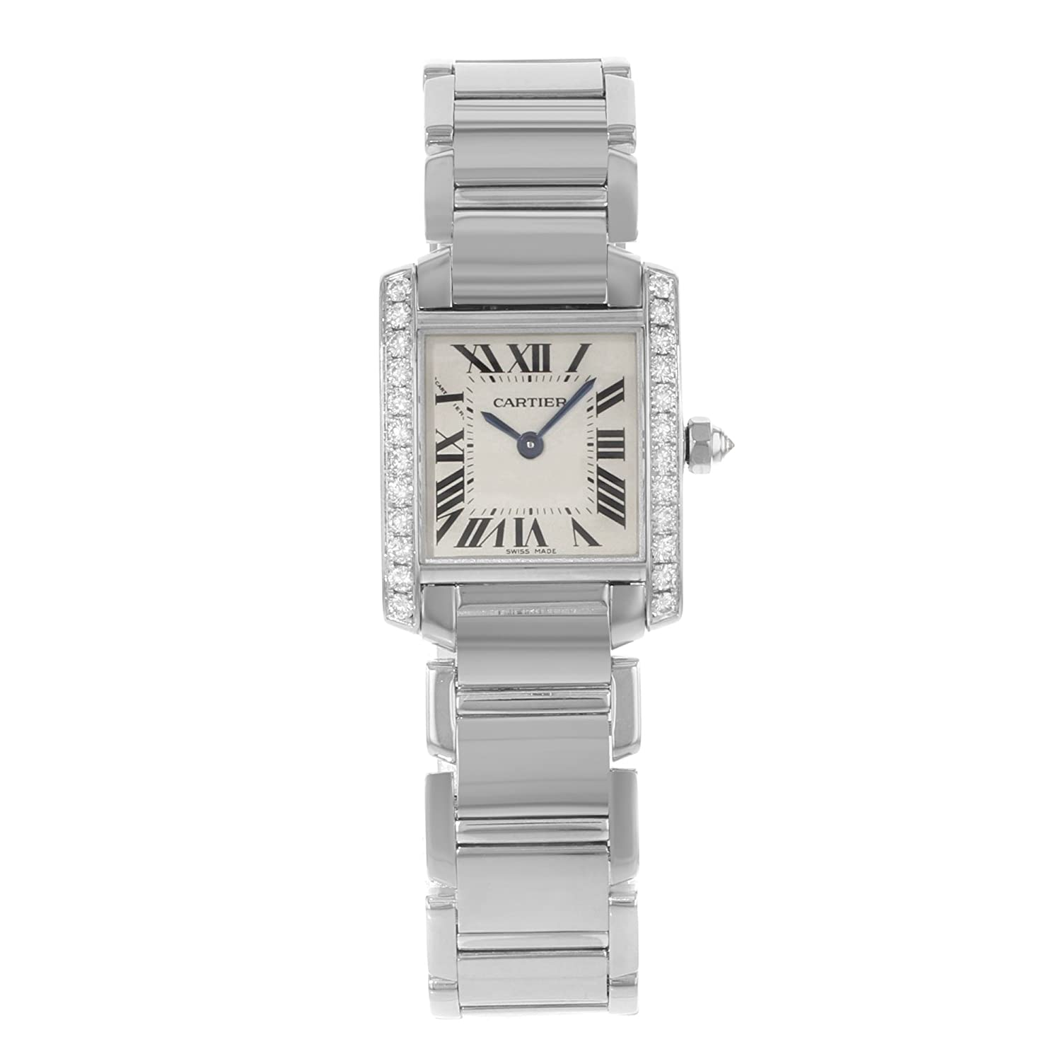 b26a36901a04 Amazon.com  Cartier Tank Francaise 18kt White Gold Diamond Ladies Watch  WE1002S3  Cartier  Watches