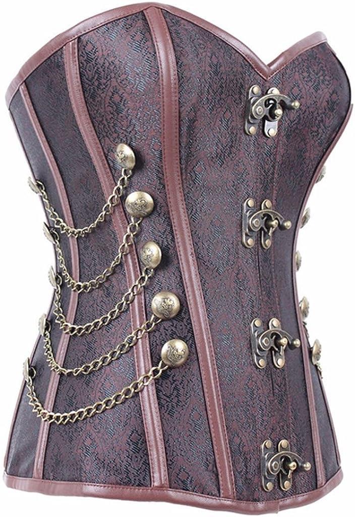 EgoLanding Womens Steampunk Gothic Brown Brocade Corset Overbust Bustiers