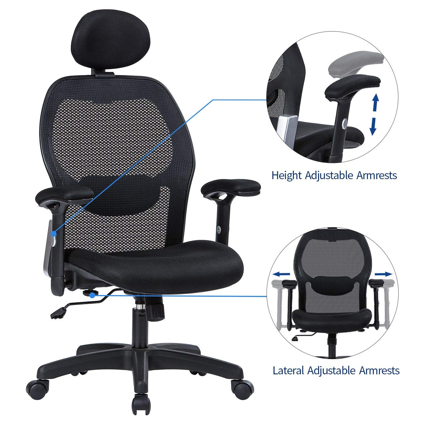 LIANFENG Ergonomic Office Chair, High Back Executive Swivel Computer Desk Chair with Adjustable Armrests and Headrest, Back Lumbar Support, Black by LIANFENG (Image #4)