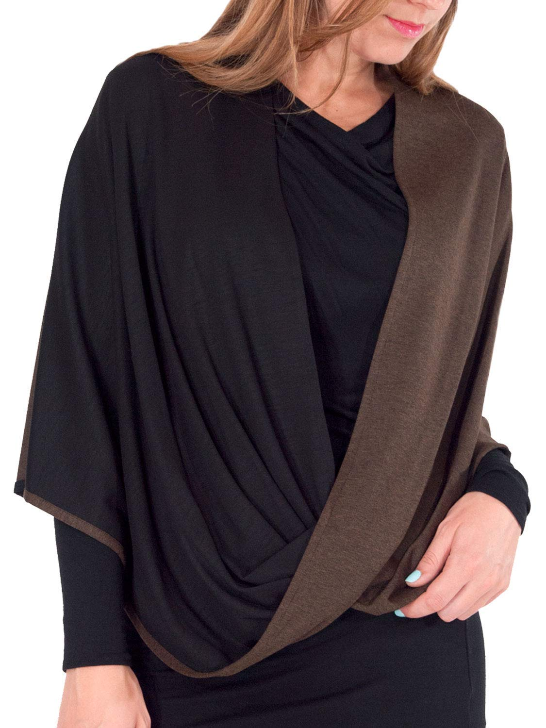 Beryl Infinity Shawl and Scarf - Luxuriously Soft 2-Tone Black and Walnut Brown Shawl from Erin Draper. Made in USA. (Medium Length)
