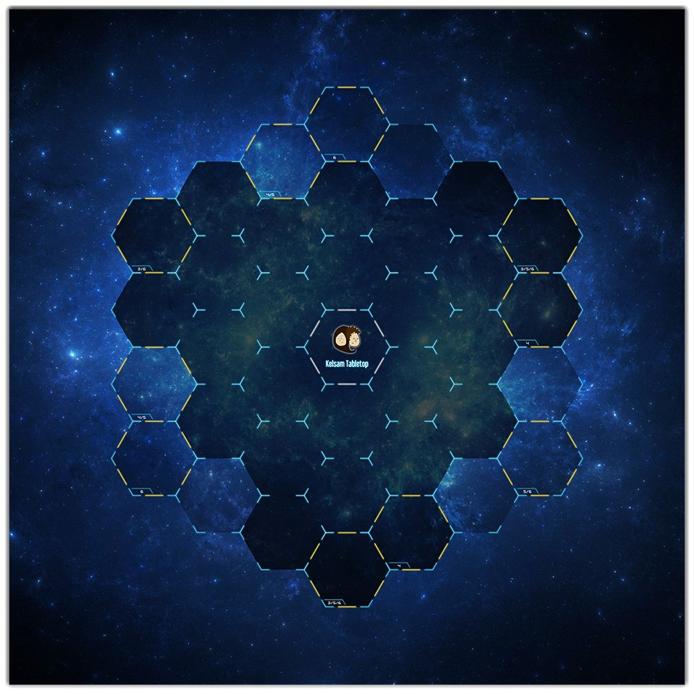 Hex Galaxy Wargaming Play Mat – 36x36 Inch Table Top Roleplaying and Miniature Battle Game Mat Great for Warhammer 40k Star Wars Minis Warmachine Polyester with Anti-Slip Rubber Backing
