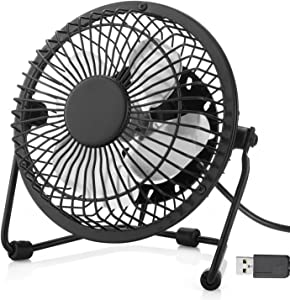 WoneNice Mini USB Fan, Portable Metal Desk Fan, Quiet and Cooling for Office Home School and Camping, 360 Rotation (Black)