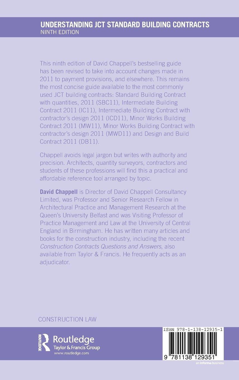 Understanding JCT Standard Building Contracts (Understanding Construction):  Amazon.co.uk: David Chappell: 9781138129351: Books