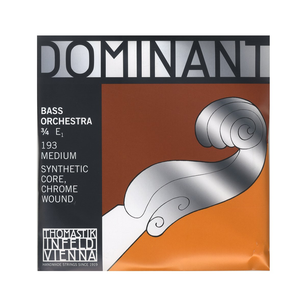 Thomastik-Infeld 193 Dominant Double Bass String, Single E String, Chromesteel Wound, Medium Tension, 3/4 Size, Orchestral Tuning
