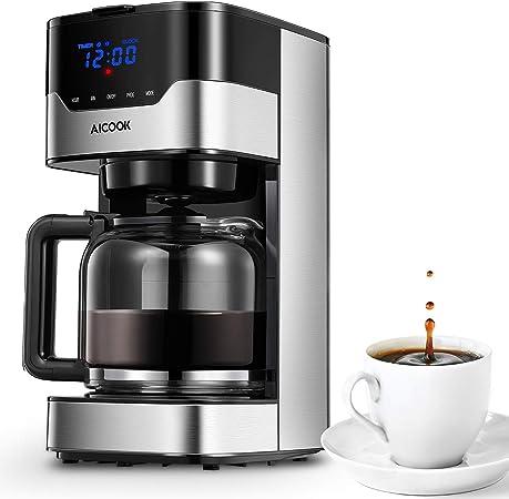 Aicook - Cafetera con pantalla táctil (12 tazas, programable, pantalla con reloj, jarra de cristal de 1,5 litros, earoma de café ajustable, 900 W): Amazon.es: Hogar