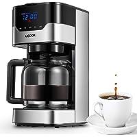 Aicook Kaffeemaschine mit Timer und Kaffeestärke lässt sich Verstellen, Anti-Drip-Funktion, Touchscreen, Dauerfilter, 900 W, Hochwertiger Edelstahl, Schwarz