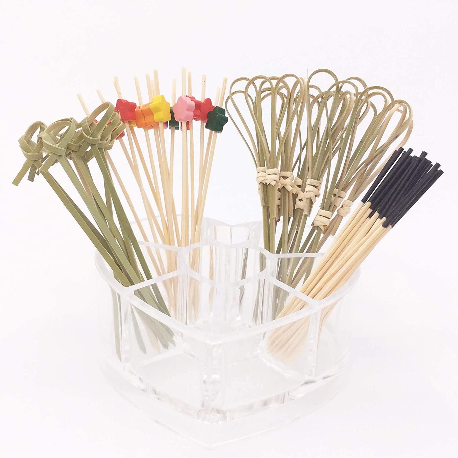 KUZOO Cocktail Picks 400 Pack 4 inch Natural Bamboo Food Picks and Wood Cocktail Skewers Perfect for Cocktail Party, Barbeque, Club Sandwiches Appetizer Picks