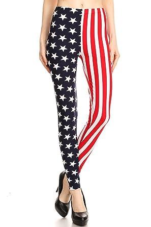 bc21e896c4209b Leggings Mania Women's American Flag High Waist Leggings Red White Blue