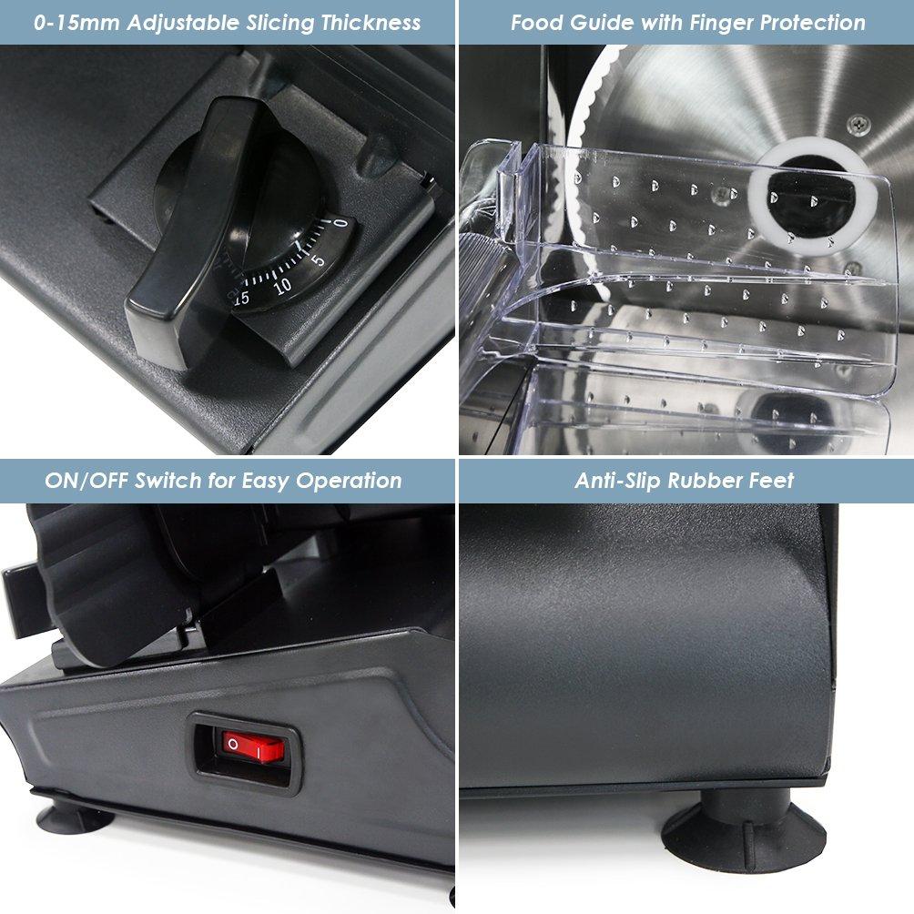Elite Gourmet EMT-503B 130 Watt Die-Cast-Aluminum Electric Food Slicer, Black by Maxi-Matic (Image #4)