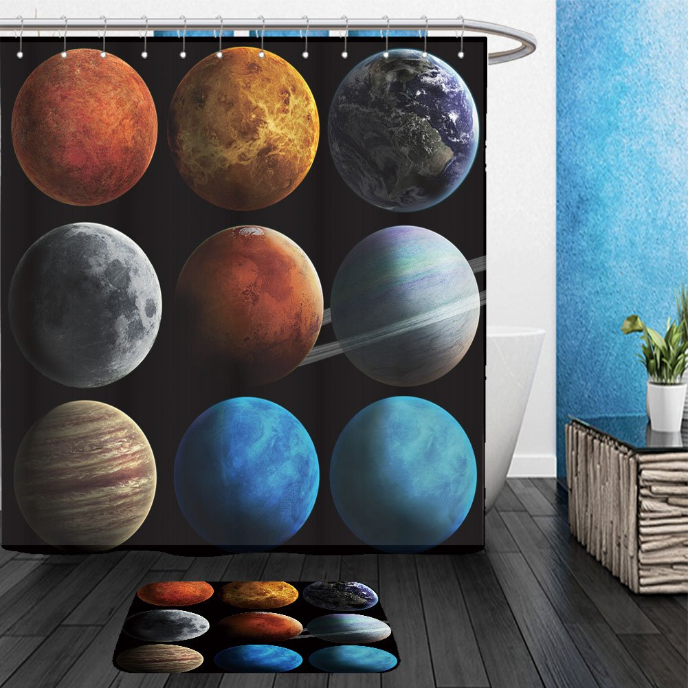 Vanfan Bathroom 2Suits 1 Shower Curtains & 1 Floor Mats solar system and space objects elements of this image furnished by nasa 149368982 From Bath room