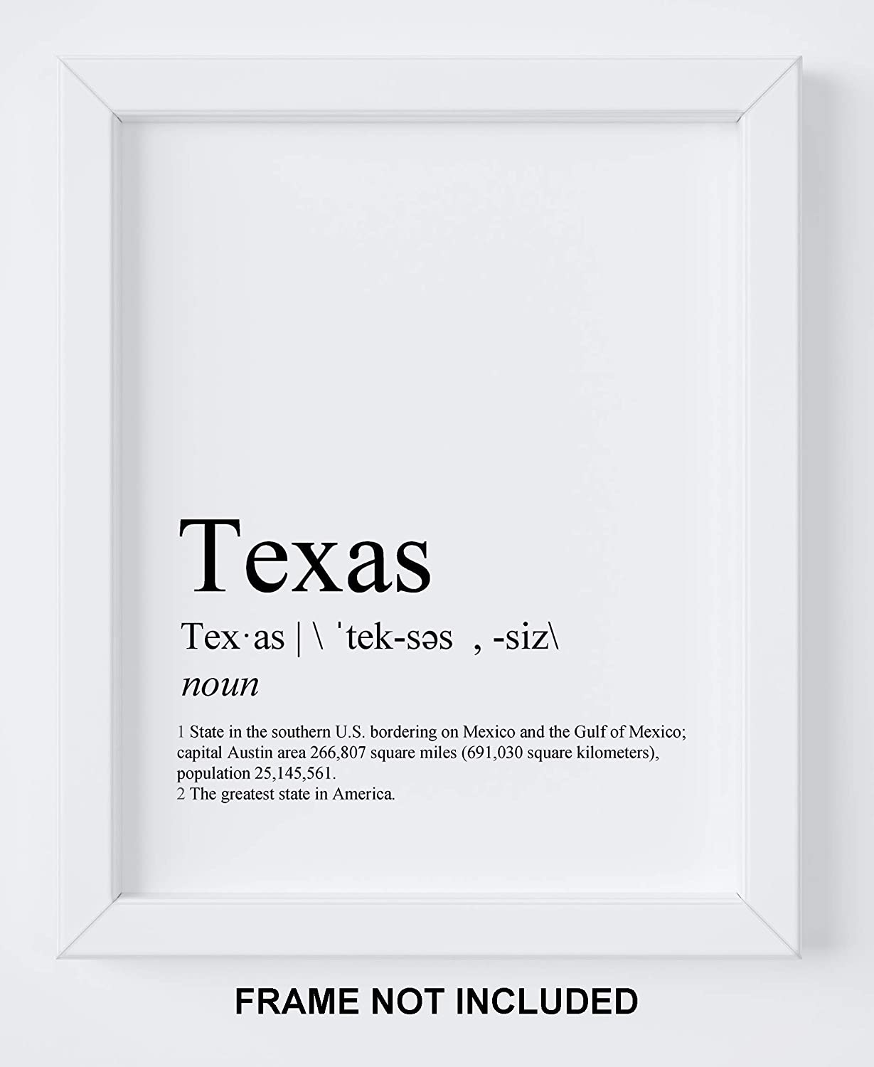 """Texas Wall Art - 8x10"""" UNFRAMED Print - Texas Definition - Black And White Minimal Typography Decor - Funny Texas Gifts For Men And Women"""