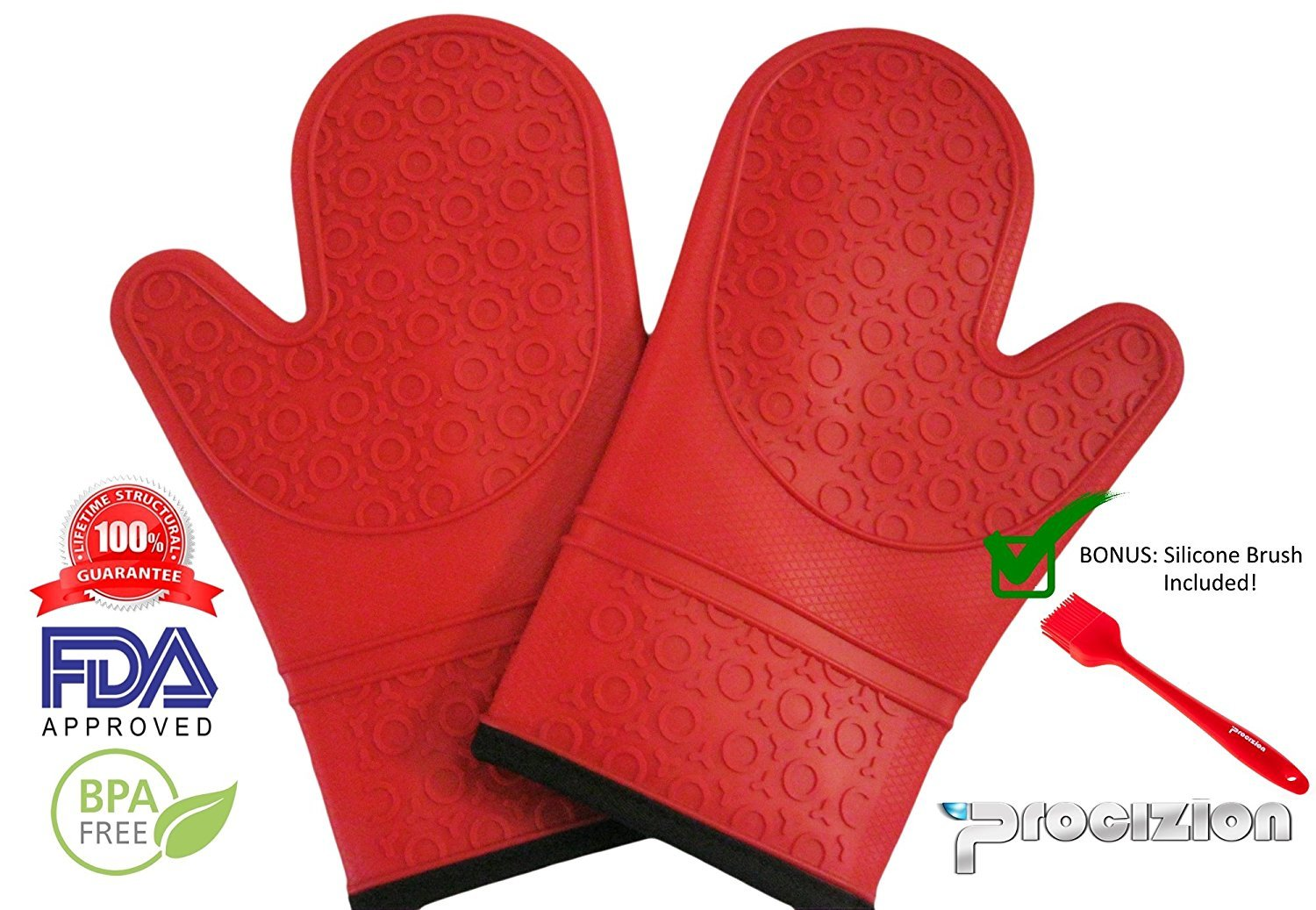 Professional Silicone Oven Mitts - 1 Pair - Red - Heavy Duty - Non-Slip