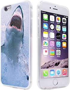 """6S Plus Case Shark,Gifun Anti-Slide Soft TPU Protective Case Cover Compatible with iPhone 6S Plus/6 Plus 5.5"""" - Big White Shark"""