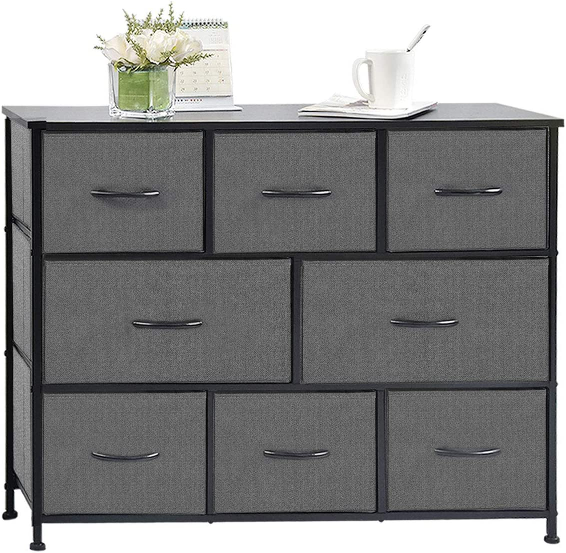charaHOME Fabric Storage Organizer Clothes Drawer Dresser with 8 Drawers, Dresser Storage Tower for Bedroom, Hallway, Entryway, Closets, Heavy Duty Steel Construction, Wood Top