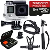 GoPro HERO4 SILVER Edition Camera HD Camcorder With Deluxe Carrying Case + Head Strap + Chest Strap + Monopod + 32GB SDHC MicroSD Memory Card Complete Deluxe Accessory Bundle [並行輸入品]