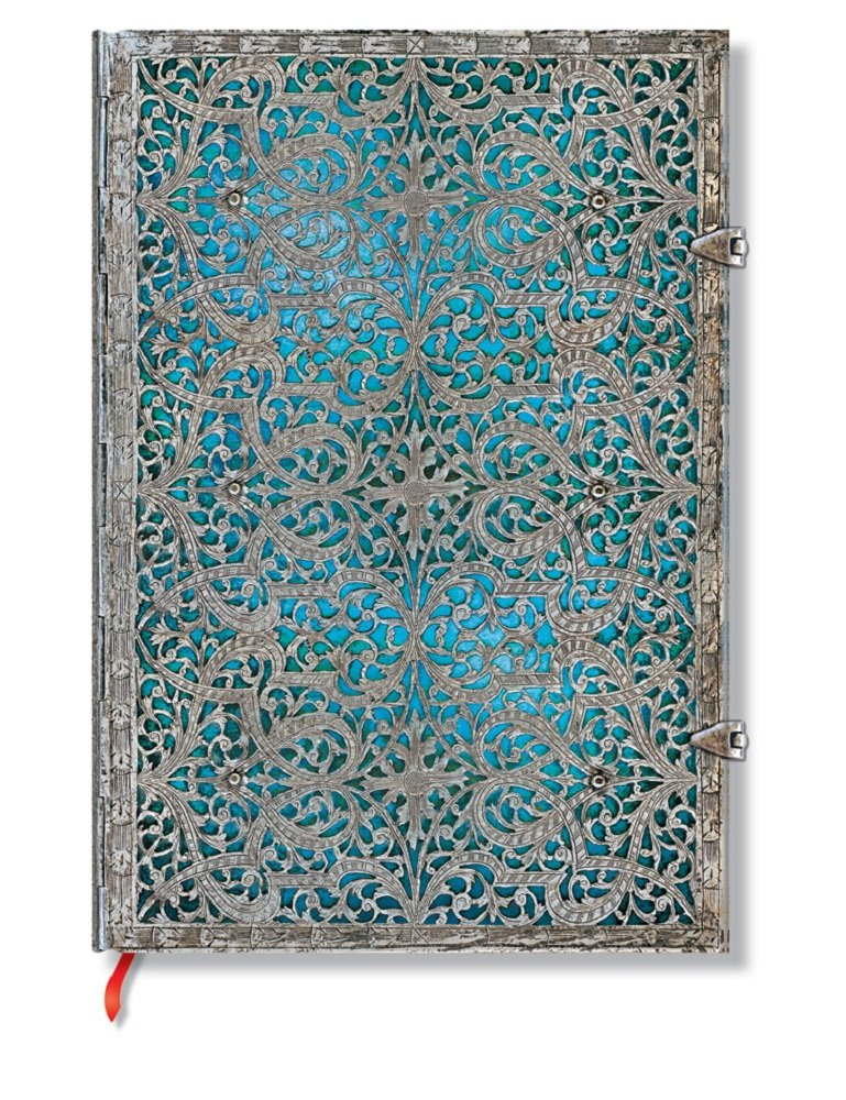 Carnet PAPERBLANKS Collection Filigrane Argenté Maya Bleu format Grand - PB25597 PB2559-7