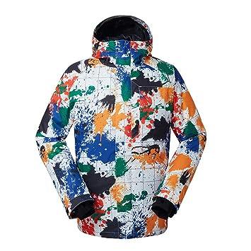 HXFFLYLY Chaqueta de esquí con Estampado de Colores para Hombre: a Prueba de Nieve,