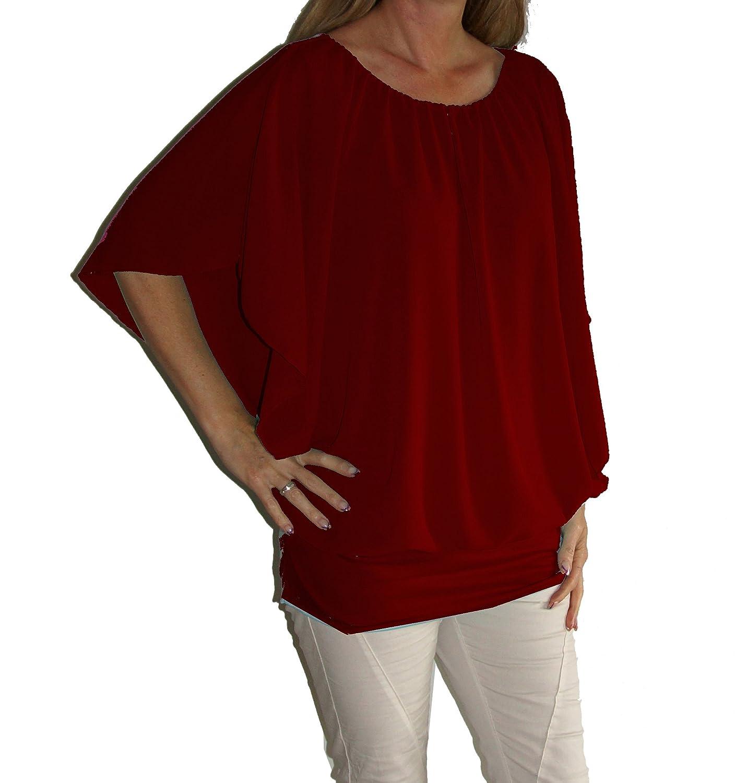 Am Laufsteg, blusa da donna dal taglio ampio, in chiffon, scollo rotondo, maniche corte o lunghe, fascia elastica in fondo