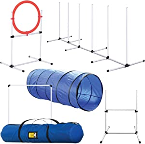 Dog Agility Training Equipment, Complete Set, Dog Tunnel, Jump, Hurdle, Hoop, Weave Poles Dog Obstacle Course, Backyard, Indoor, Outdoor