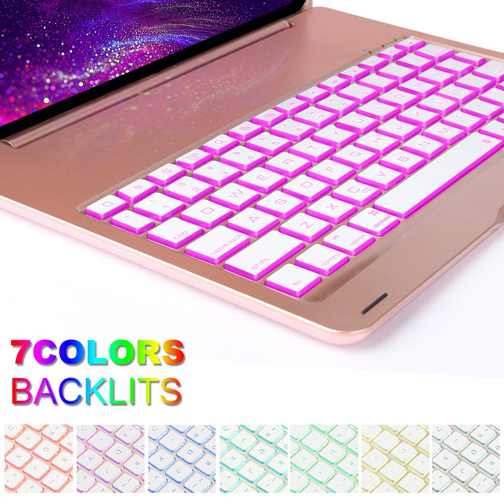 Keyboard Case for iPad Pro 11,130 Degree Rotation, 7 Color Backlit Keyboard,Thin and Light Case,BT Connect, iPad Pro 11 Keyboard Case, (Rose Gold, 11)