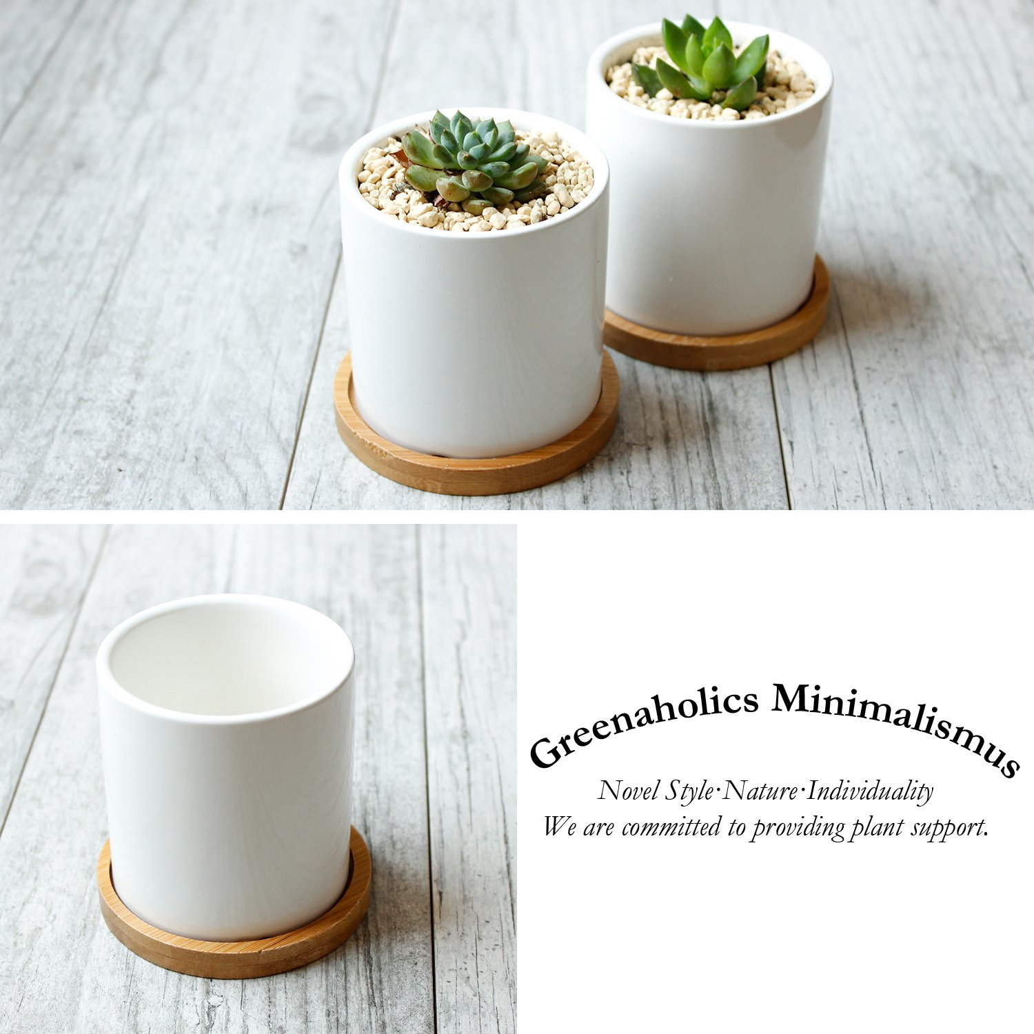 Greenaholics Succulent Plant Pots - 3 Inch Ceramic Cylindrical Containers, Small Cactus Planters, Flower Pots with Drainage Hole, Bamboo Tray, Set of 2, White by Greenaholics (Image #7)