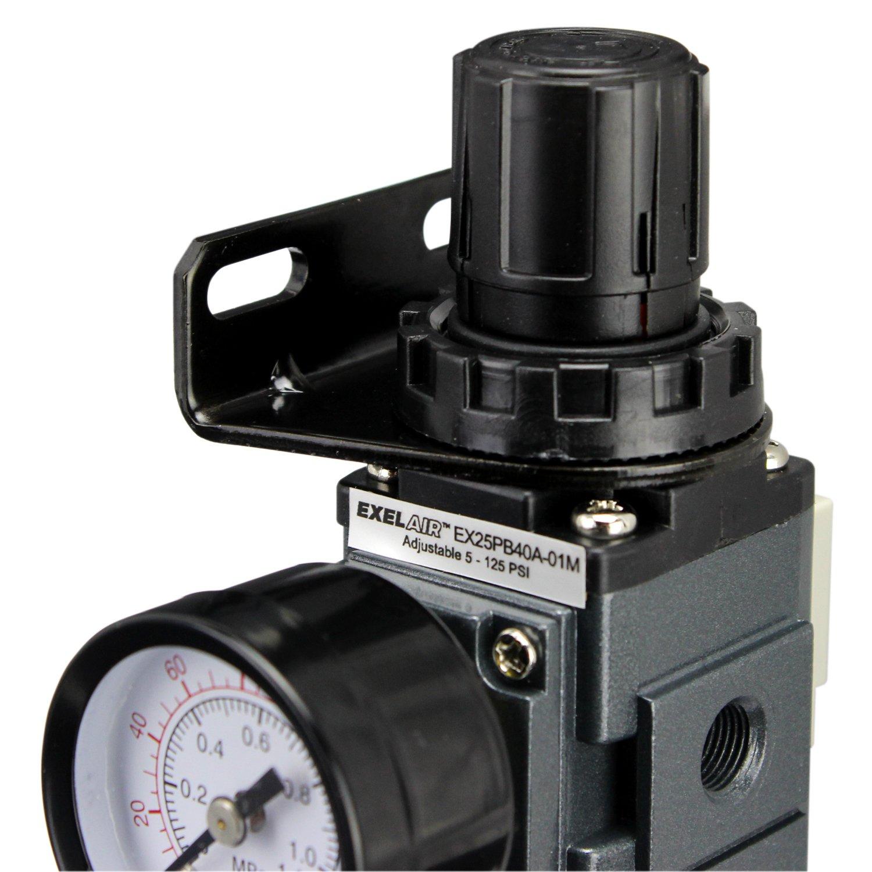 ExelAir EX45PB40A-02P 1//4 NPT Polycarbonate FRL Air Filter Regulator