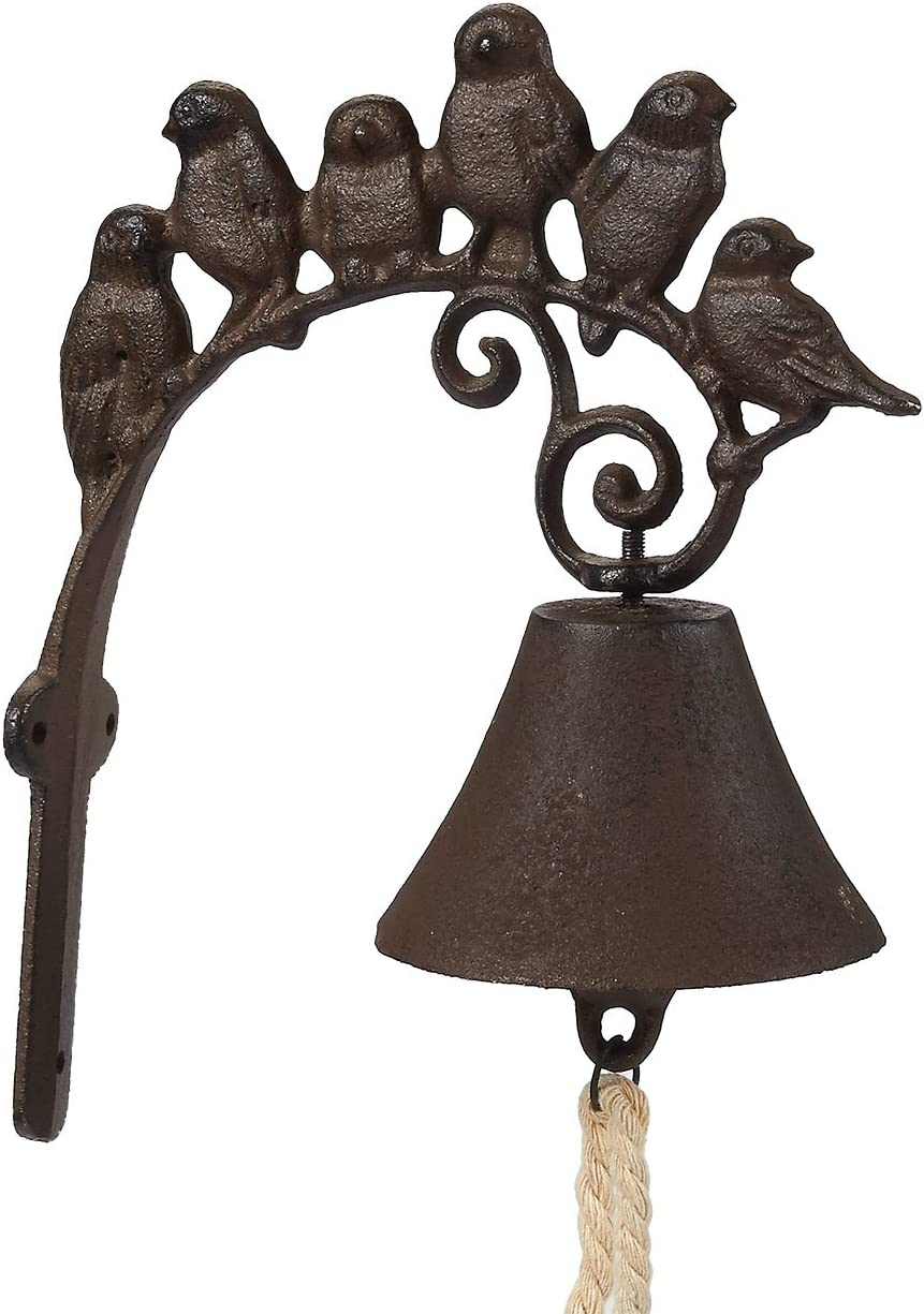 Juvale Iron Cast Door Bell - Rustic Birds Flock Door Chime - Wall Mounted Front Door Bell for Farmhouse, Garden, and Front Yard - Brown, 8.7 x 7 x 1.5 Inches