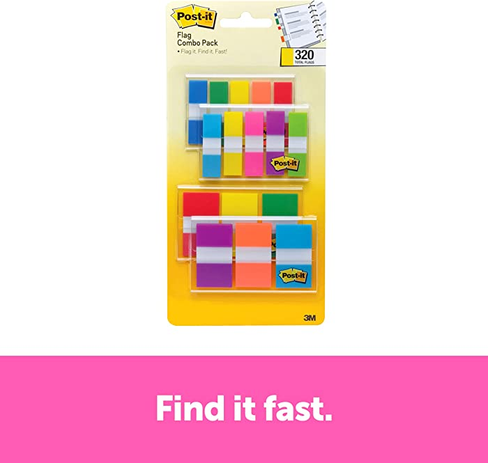 Post-it Flags Assorted Color Combo Pack, 320 Flags Total, 200 1-Inch Wide Flags and 120 .5-Inch Wide Flags, 4 On-The-Go Dispensers/Pack (683XL1)