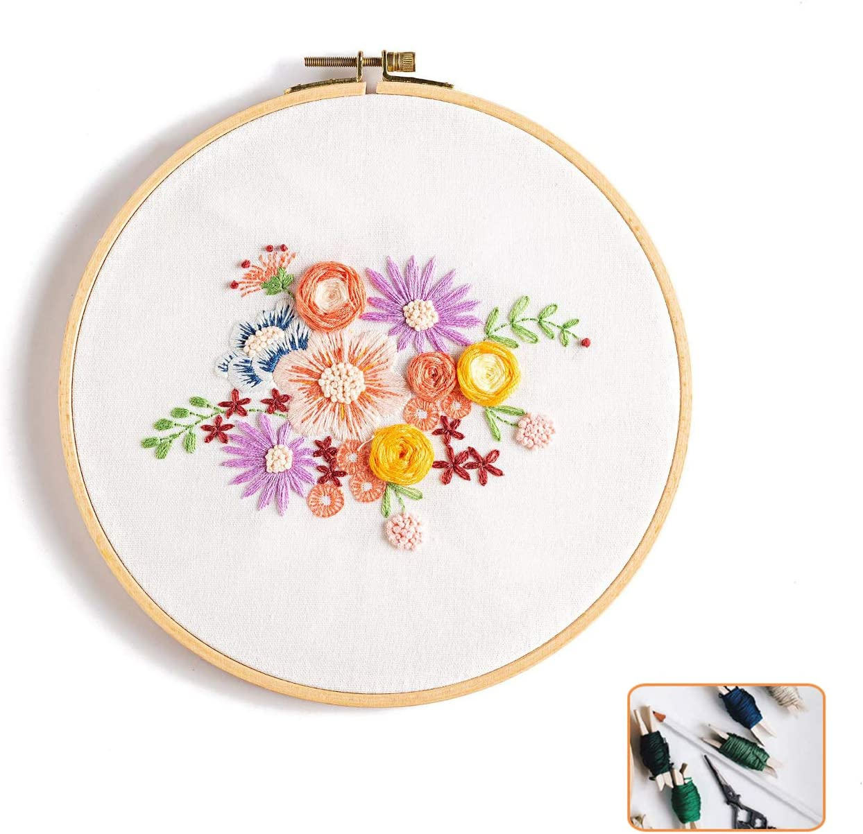 Bamboo Embroidery Hoop Color511212 FUB Full Range of Embroidery Starter Kit with Pattern Stamped Embroidery Kit Including Embroidery Cloth with Pattern Color Threads Needle Kit Blossom