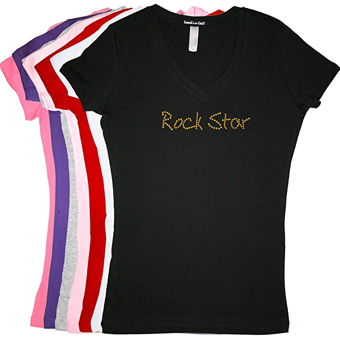 Rock Star (Gold) - Rhinestone Rhinestone V-Neck T-Shirt - Tight