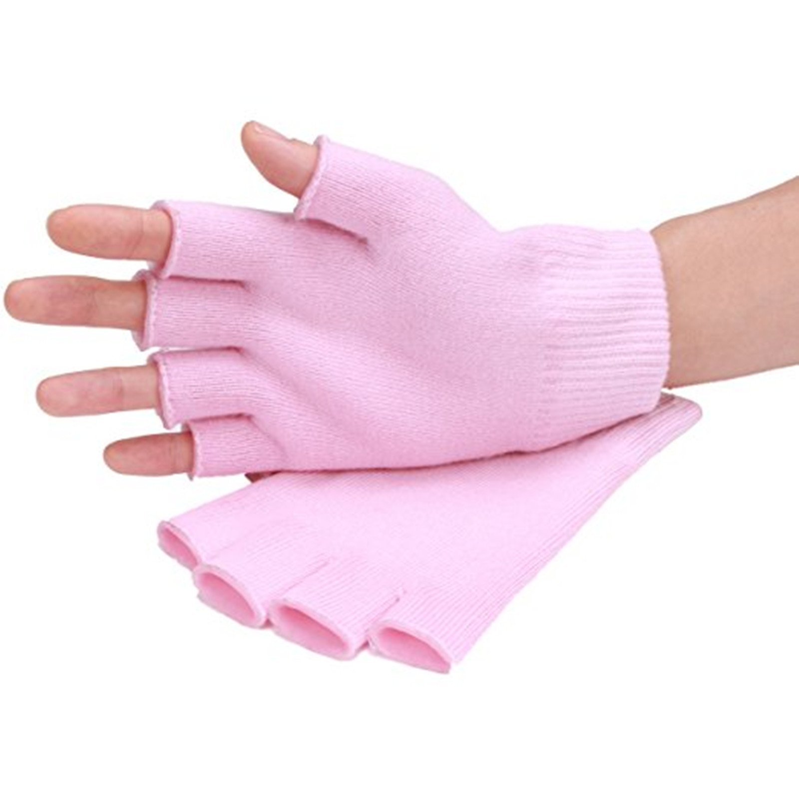 AnHua Gel Cotton Moisturizing Gloves, Half Finger Touch Screen Gloves, Moisturizing Vitamin and Oil Infused, Against Dry Hard Cracked and Rough Hands Fingers, Color Pink