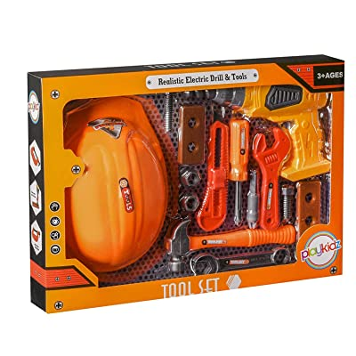Playkidz Tool Set for Kids 14-Piece Boys & Girls Toy Playset w/ Construction Hard Hat, Working Electric Power Drill, Hammer, Screwdriver, Wrench & Other Realistic Accessories Recommended Ages 3+: Toys & Games