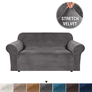H.VERSAILTEX Real Plush Velvet Sofa Cover Stretching Skid Resistance Slipcover/Furniture Cover for Living, Thick and Soft Velvet Modern Sofa Slip Covers with Bottom Security, Grey, Loveseat Cover