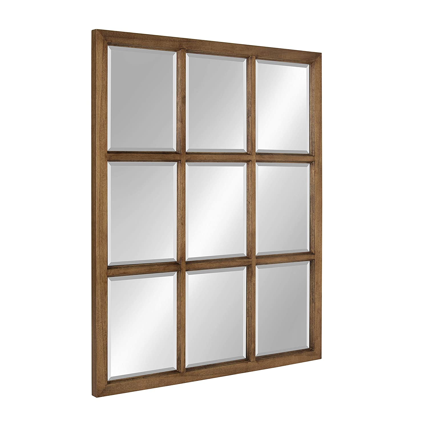 Kate and Laurel Hogan 9 Windowpane Wood Wall Mirror, 26×32, Brown