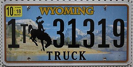 Us Nummernschild Wyoming Kennzeichen Rodeo Cowboy Motiv Usa Auto Schild Küche Haushalt