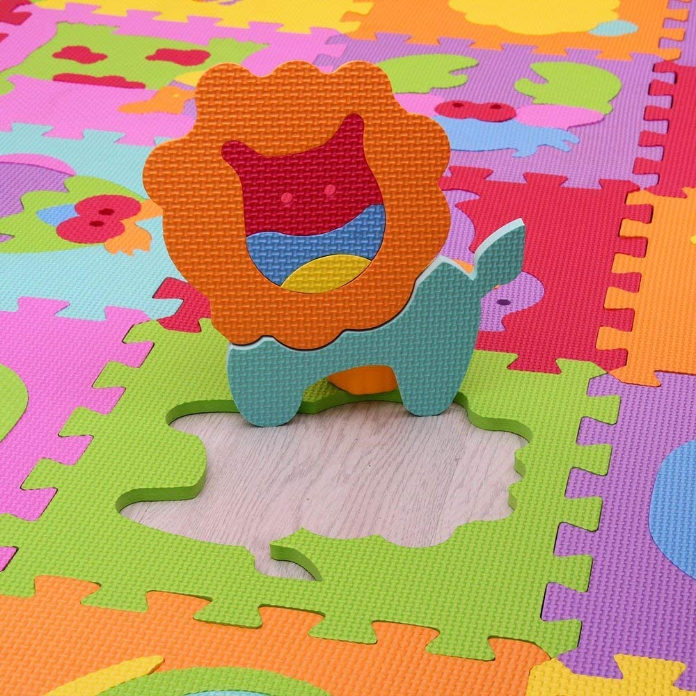 MQIAOHAM Children Puzzle mat Play mat Squares Play mat Tiles Baby mats for Floor Puzzle mat Soft Play mats Girl playmat Carpet Interlocking Foam Floor mats for Baby P011CS18G300927