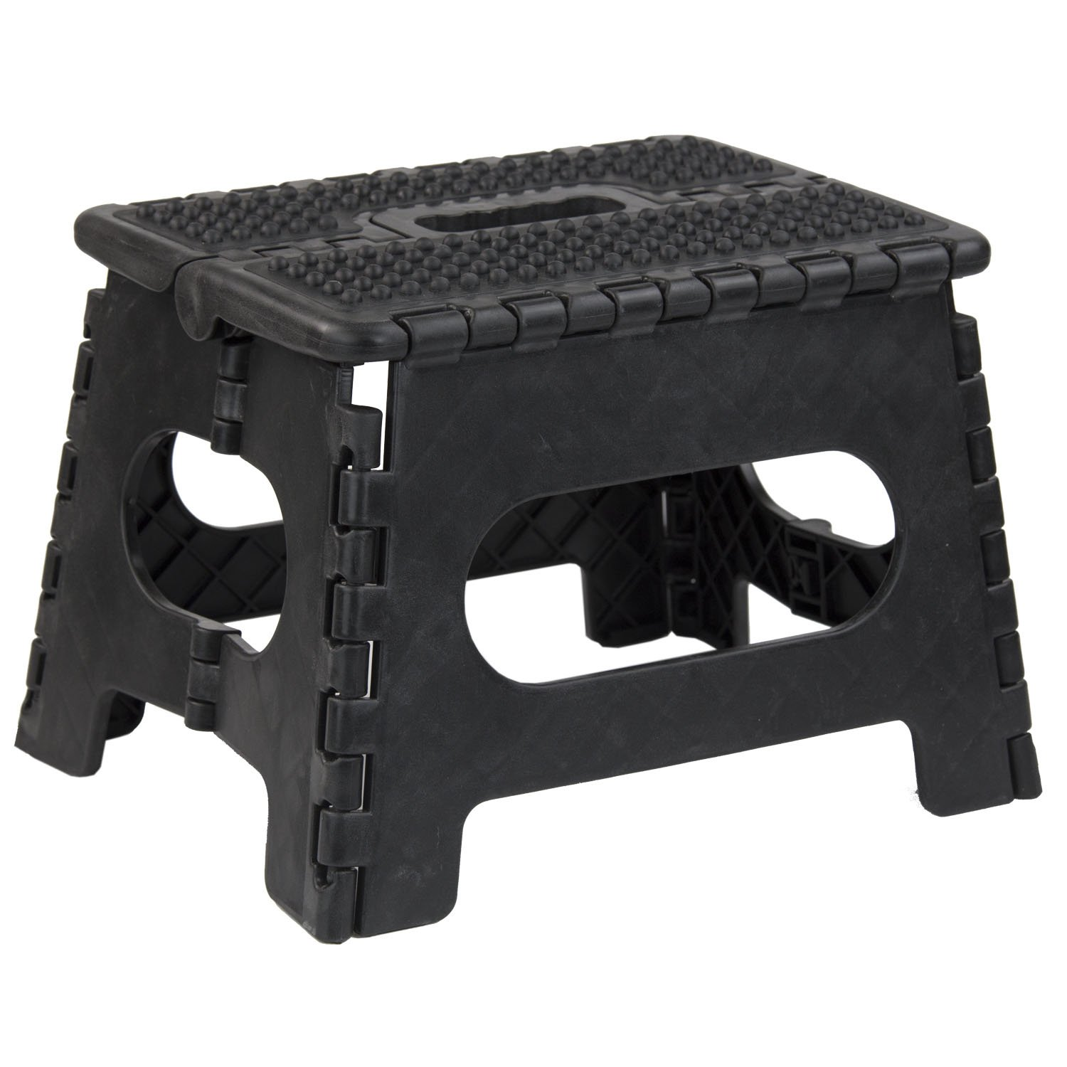 Home Basics Folding Stool with Non Slip Grip and Carrying Handle (Medium, Black)