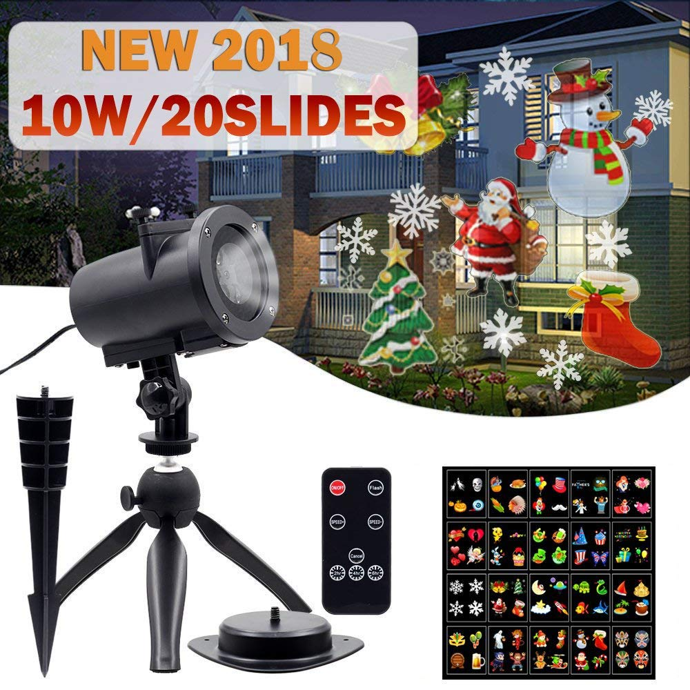 Christmas Projected Light Outdoor Slide Show Decoration Lights Projector, 10W Landscape Motion Lamp for Thanksgiving, Xmas, Holiday Party Garden, Black Friday Sale