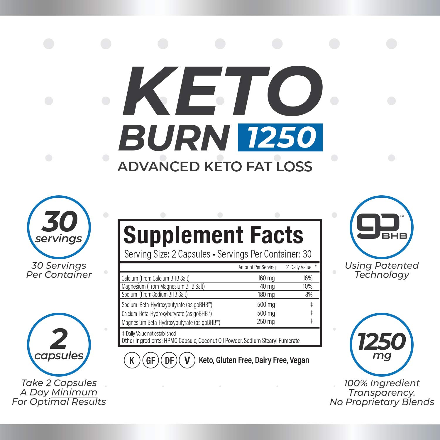 3 Bottles of KetoBurn 1250 (180 Capsules) - The ONLY Keto Pill That Uses Patented Fat Loss Technology! by KetoBurn 1250 (Image #2)