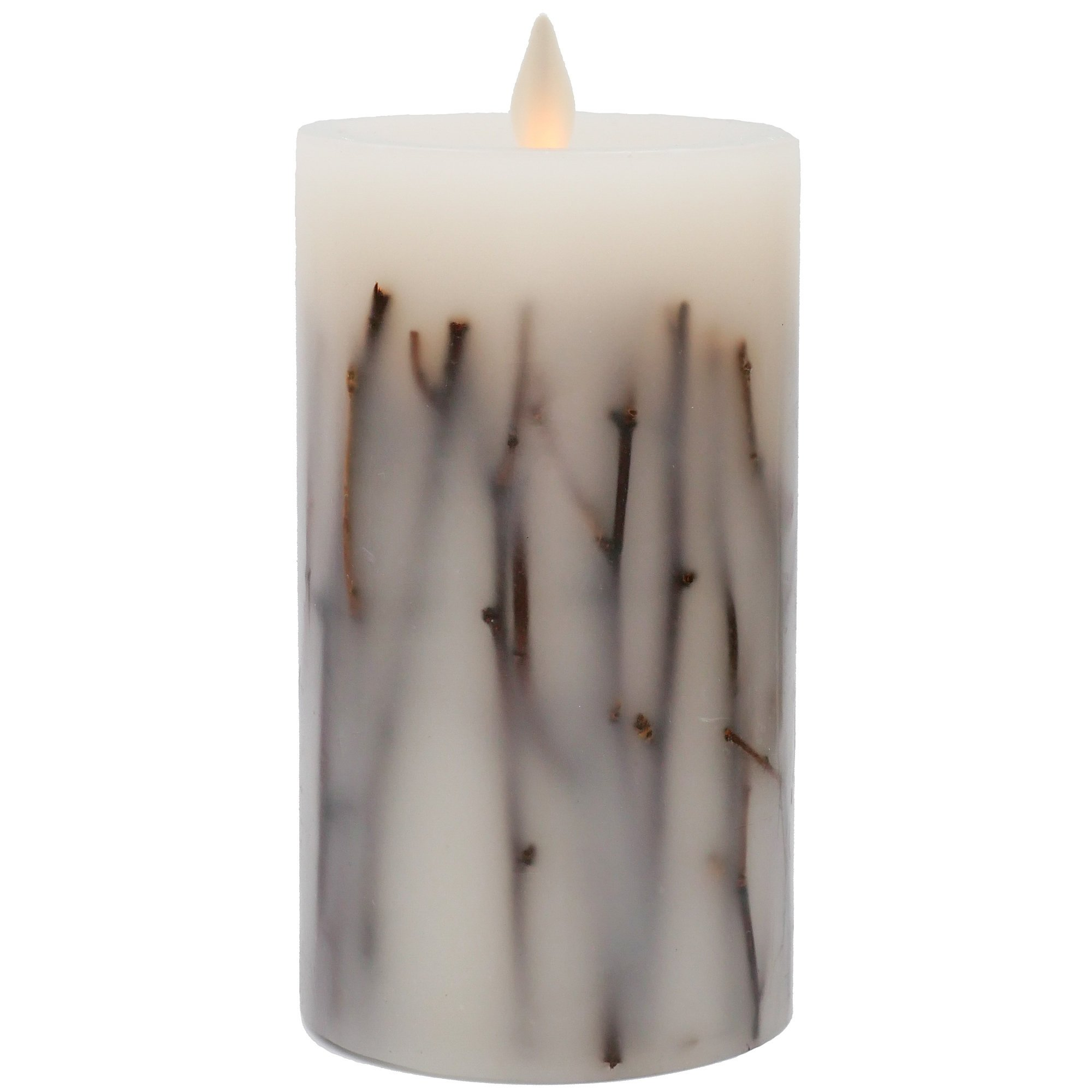 "Hooga Life Birch Sticks Flameless Candle – 7"" Tall x 5"" Diameter Real Wax Pillar, Battery Operated LED Flickering Wick, Timer - For Safe Indoor and Outdoor Use – Remote Control Ready"