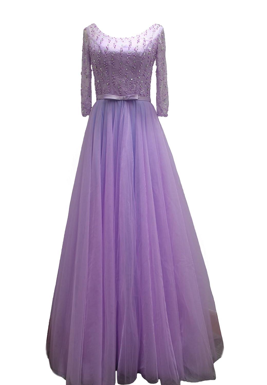 Bridal_Mall Women's Long Net Evening Dress Bridesmaid Gowns