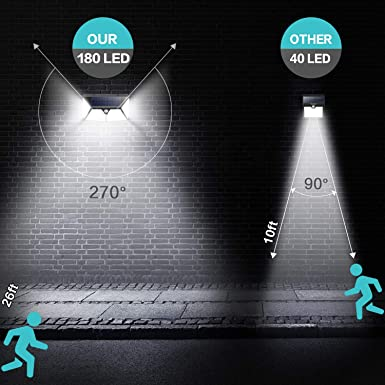 Solar Lights Outdoor 180 LED,Yacikos 2000LM Super Bright Security Lights 270 Wide Angle Motion Sensor Lights Wireless IP65 Waterproof Wall Night Light with 3 Modes for Fence Garage Step Stair 2 Pack