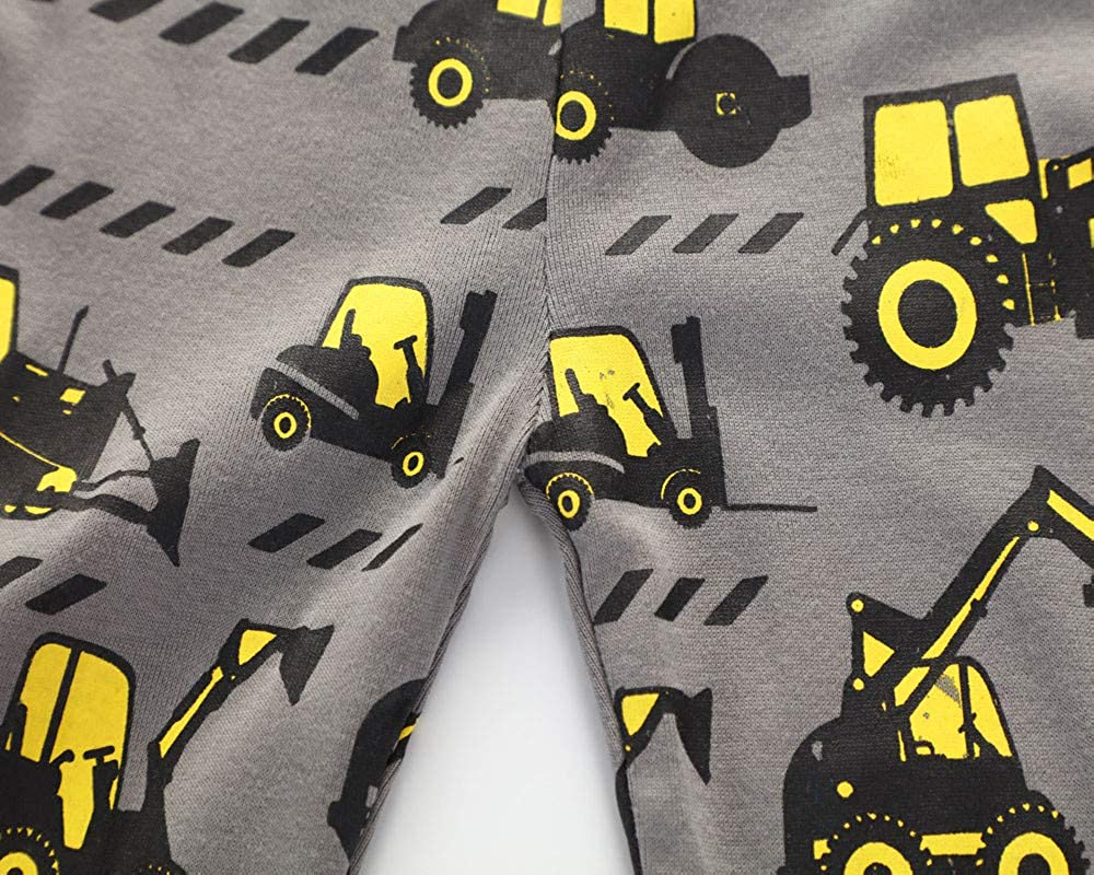 Lucoo Kids Infant Baby Boys Tractors Print Cartoon Tops+Pants Outfits Clothes