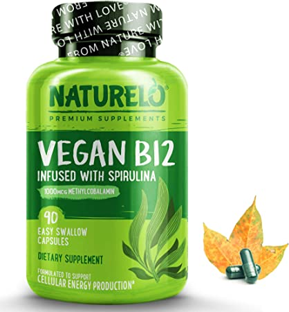 NATURELO Vegan B12 with Organic Spirulina - Vegan Supplement for Energy, Metabolism and Stress - High Potency 1000 mcg B12 (Methylcobalamin) - Non GMO, Gluten Free - 90 Mini Capsules